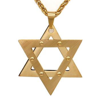 Stainless Steel Jewish Star of David Necklace