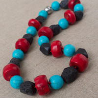 Large bead Statement necklace Coral Lava Turquoise Red Blue Black Stone Hand knotted Retro Big Unique bold Tribal jewelry Boho Rockabilly