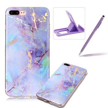 Rubber Case for iPhone 7,Soft TPU Cover for iPhone 8,Herzzer Premium Stylish Marble Pattern Scratch Resistant Slim Fit Silicone Back Cover