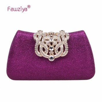 Fawziya Handbags Women Bags Bling Glitter Purse For Girls Crown Box Clutch Evening Bags