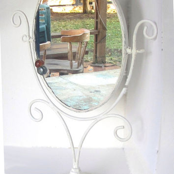 Upcycled white shabby vintage vanity mirror. Standing makeup mirror. Elliptical mirror with metal frame.