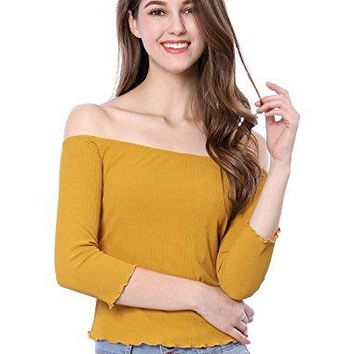 Allegra K Womens Ruffle Trim Ribbed Slim Fit Off The Shoulder Top