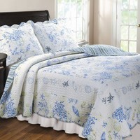 Greenland Home Fashions Coral Quilt Set - GL-1010EQ - Quilts & Coverlets - Bed & Bath