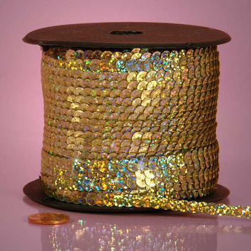Gold Holographic Faceted Extra Sparkle String 6mm x 80 yards Sequins