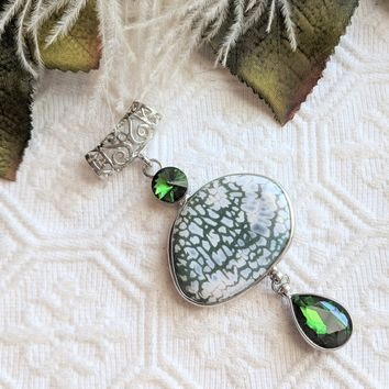 Unique Large Artisan Crafted Sterling Silver Green Jasper Diopside Pendant