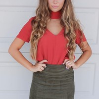 Fall Foliage Rust Woven V-Neck Top With Buttoned Choker Neck