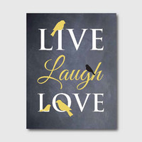 Wall Art - Live Laugh Love - 8 x 10 - Birds - Room Decor - Chalkboard or VIntage Paper