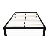 Queen Size Simple Modern Black Metal Platform Bed Frame With Wood Slats