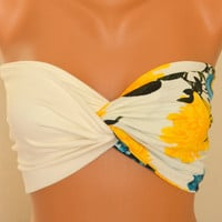 Floral top twisted upcycle cotton jersey lycra bandeau strappless bra bandeau bikini  girly accessories birthday gifts