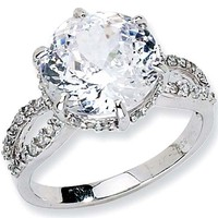 Sterling Silver 100-Facet Cubic Zirconia Ring by Cheryl M
