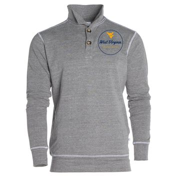 Official NCAA West Virginia University Mountaineers Hail WVU Women's Boyfriend Fit Triblend 1/4 Button Pullover Full Sleeve O-Neck Durable Premium Sweatshirt