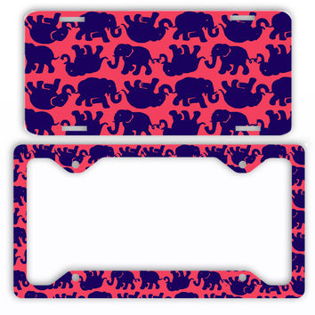 Elephants Navy Red License Plate Frame Preppy Car Tag