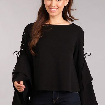 Long Lace Up Bell Sleeve Top - Black