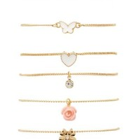 Stackable Charm Bracelets - 6 Pack by Charlotte Russe - Gold