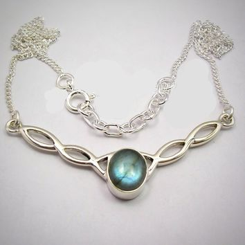Silver Cabochon Oval Blue Fire Labradorite Necklace