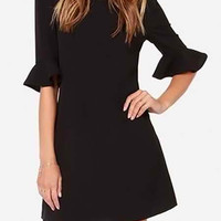 Black Half Sleeve Mini Dress