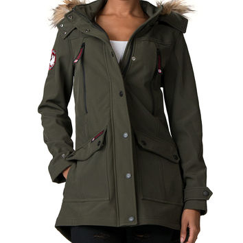 STEVE MADDEN Long Softshell Furline Hood Jacket - Dark Green | Jimmy Jazz - OLCW051
