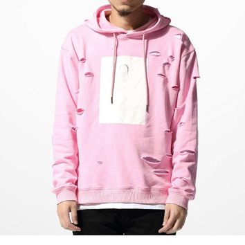 Pink Hole Hoodies Sweatshirts Mens Hip Hop Hoodies Sweat Tracksuit Bore Cotton Hoodies