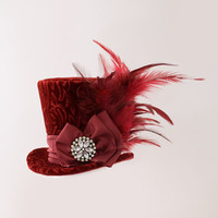 Wine Red mini top hat, Burlesque hat, Gothic, Steampunk, Bachelorette hat, Showgirl, Mad Hatter, Alice in Wonderland, Fascinator, Derby hat