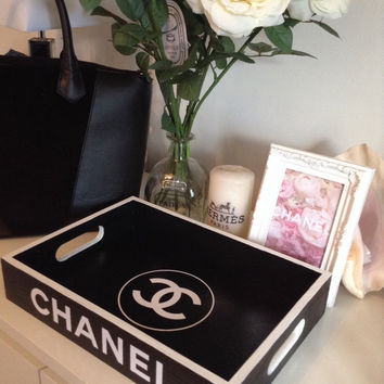 Replica Chanel Tray ~ Black with white logo