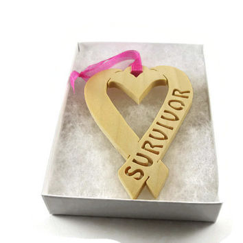 Survivor Heart Shape Ribbon Handmade From Poplar Wood By KevsKrafts