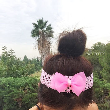 Toddler/Baby Bow Pink Headband, Crochet Headband, Baby Girl Beanie, Infant Hats, Toddlers, Toddler Fashion Finds, Accessories