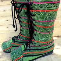Women's Combat Boots Ethnic Hmong Green Batik Mid Calf Lace Up - Britta