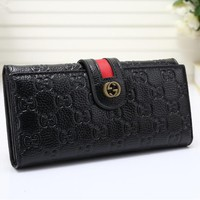 """Gucci"" Women Purse Retro Fashion Personality Embossed Long Section Double Layer Button Flip Wallet Handbag"
