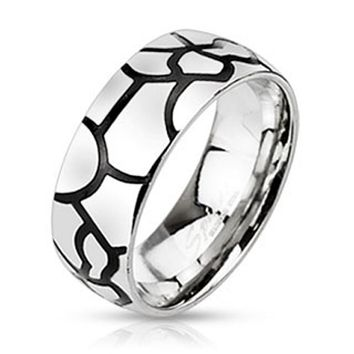 Craqueline Striped Dome Band Ring Stainless Steel