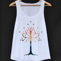 White Tree Space The Lord of The Ring Shirt Tank-Top White Ladies Size SMALL MEDIUM