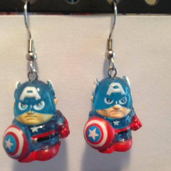 Squinkies Earrings - Captain America [translucent] - made from re-purposed toys