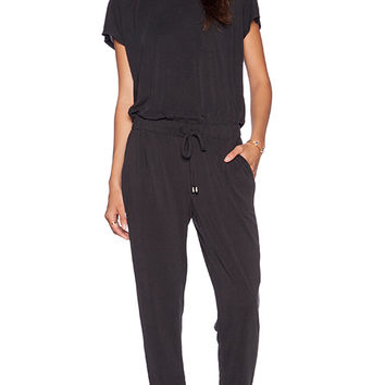 Splendid Sandwash Jersey Jumpsuit in Black