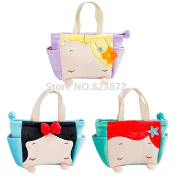 Kawaii Cute Rapunzel Little Mermaid Ariel Snow White Princess Plush Lunch Bag for Kids Girls Lunch Box Tote Bag Food Bag Handbag