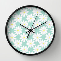 Bright Happy Daisies on Mint Wall Clock by Perrin Le Feuvre