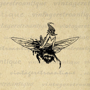Elf Riding Bumblebee Graphic Printable Download Fairy Bee Digital Image Vintage Clip Art for Transfers etc HQ 300dpi No.1745