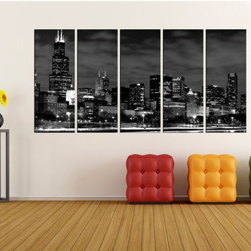 chicago wall art canvas print, black and white canvas art, Extra Large canvas art Print, skyline canvas wall art print no:8s26