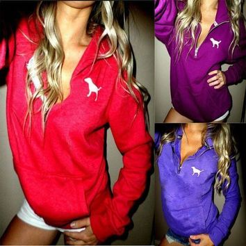 Kalete Victoria's Secret PINK Stylish Women Casual Letter Print Half Zipper Hoodie Long Sleeves Pullover Tops Sweater(4-Color) I