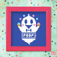 Modern cross stitch pattern - Spooky Spoopy - Xstitch Instant download - Funny Happy Halloween Cute little ghost heart with love ice cream