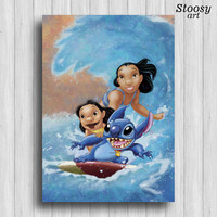 Lilo and Stitch print disney watercolor nursery gifts