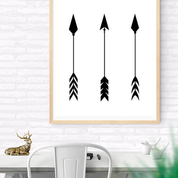 Arrows Printable, Black Arrows Instant Download, Hunting Arrows, Tribal Art Print, Traditional Arrows, Black and White Decor, Hunter's Gift
