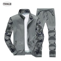 YWSRLM 2018 New Spring Autumn Men's Clothing Suits Male Clothing Set Casual Sweatshirts Pant Men Patchwork Sportswear size M-4XL