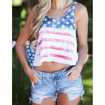 Hot Sale  Summer Tops Vintage American Flag Stripe Stars Tank Top Sexy Fashion Unique O-neck Crop Tops For Women