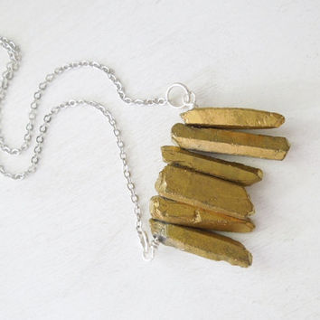 Gold Titanium Quartz Crystal Necklace - Natural Quartz Titanium Points Pendant Necklace Silver Chain