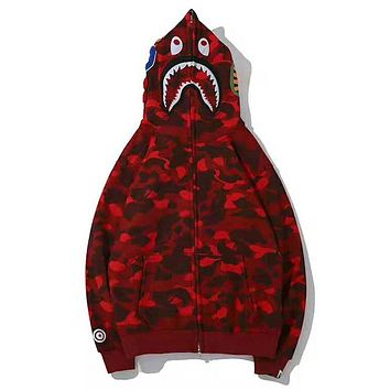 Bape Aape Autumn And Winter New Fashion Shark Tiger Print Camouflage Women Men Hooded Long Sleeve Sweater Coat Top Red