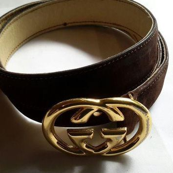 Gotopfashion True Older Vintage GUCCI Brown Suede Leather GG Logo Belt SZ 70 / 28