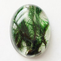 Green Moss Pendant, Real Moss in Clear Resin Pendant for Jewelry Making