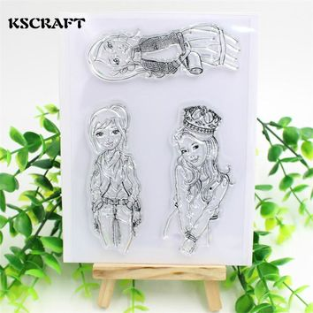 KSCRAFT Lovely Girls Transparent Clear Silicone Stamp/Seal for DIY scrapbooking/photo album Decorative clear stamp sheets