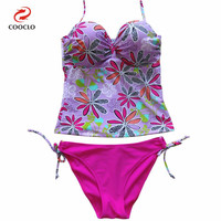 hot sale women beachwear two-pieces panty tankini set floral print swimwear women panties