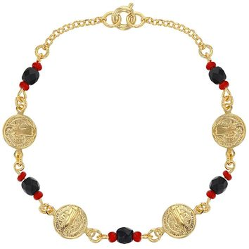 18k Gold Plated St Benedict Medal Bracelet Simulated Azabache Evil Eye Protection 7""