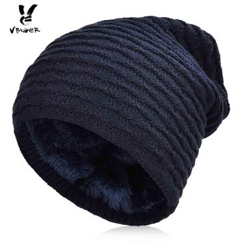 VBIGER Men Winter Warm Knitted Hat Winter Slouchy Skullies Beanies Slouch Cap Hat Thickened Brushed Lining Outdoor Skiing Hat